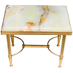 20th Century French Small Marble Top Tray Table Standing on Brass Crossed Legs