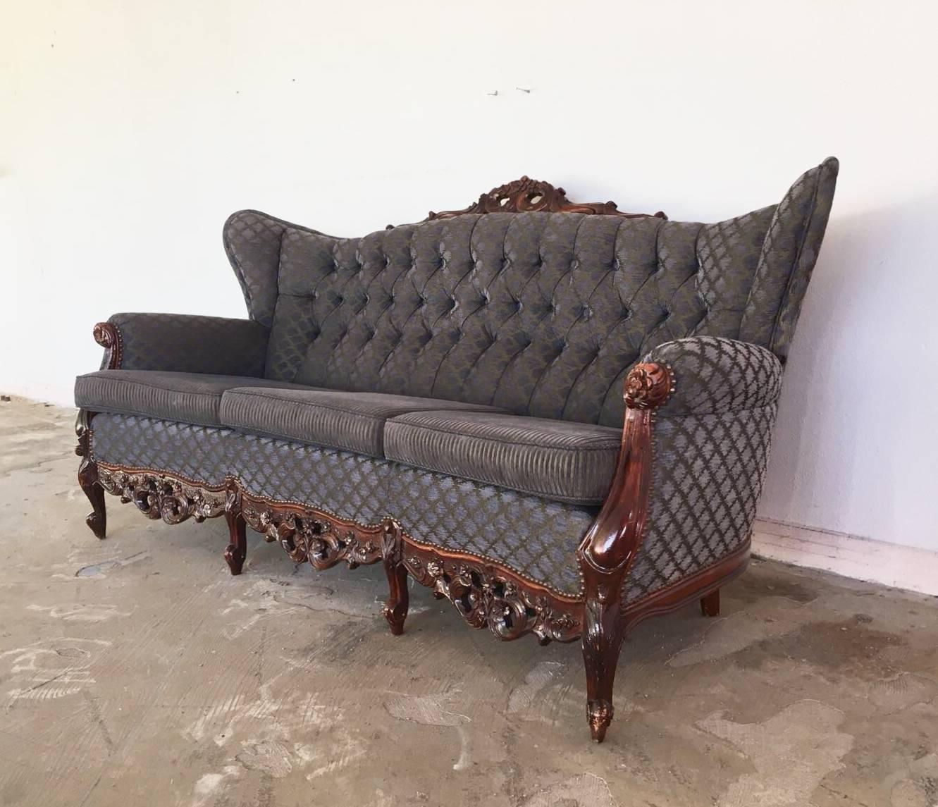 20th Century French Sofa Set, Rococo Baroque Style With Two Wingback Chairs  For Sale 1