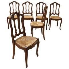 20th Century French Solid Chestnut Wood Set of Six Chairs with Straw Seat