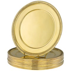 20th Century French Solid Silver-Gilt 12 Dinner Plates, Puiforcat, circa 1910
