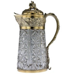 20th Century French Solid Silver-Gilt & Cut Glass Claret Jug, Odiot, circa 1910
