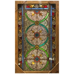 20th Century French Stained Glass Window with Floral Decoration Signed and Dated