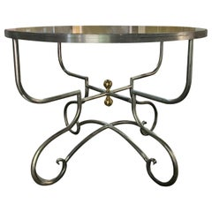 20th Century French Steel and Brass Round Breakfast Table with Inset Glass Top