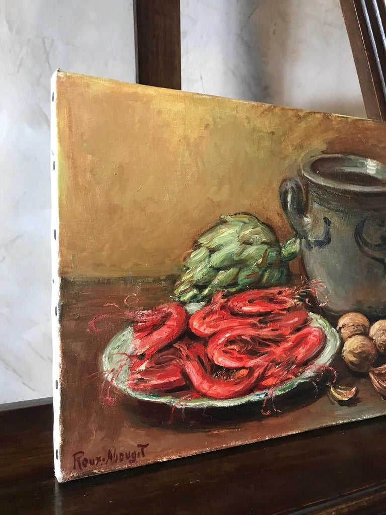 Oiled 20th Century French Still-Life Oil on Canvas Signed Roux-Abougit, 1930s For Sale