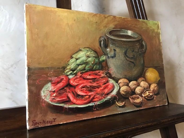 20th Century French Still-Life Oil on Canvas Signed Roux-Abougit, 1930s In Good Condition For Sale In LEGNY, FR