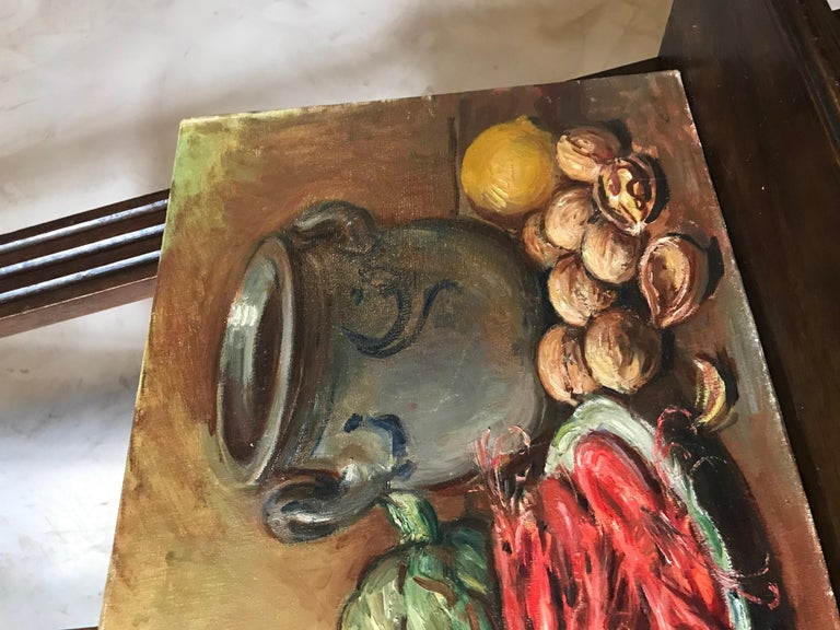 Mid-20th Century 20th Century French Still-Life Oil on Canvas Signed Roux-Abougit, 1930s For Sale