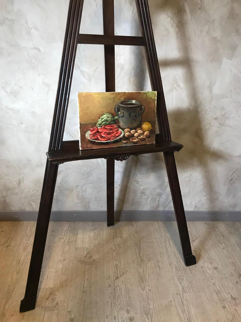20th Century French Still-Life Oil on Canvas Signed Roux-Abougit, 1930s For Sale 2