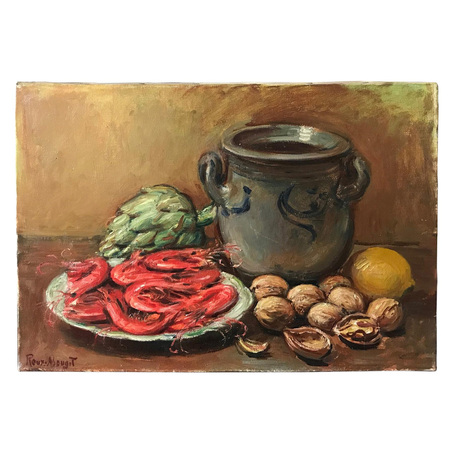 20th Century French Still-Life Oil on Canvas Signed Roux-Abougit, 1930s
