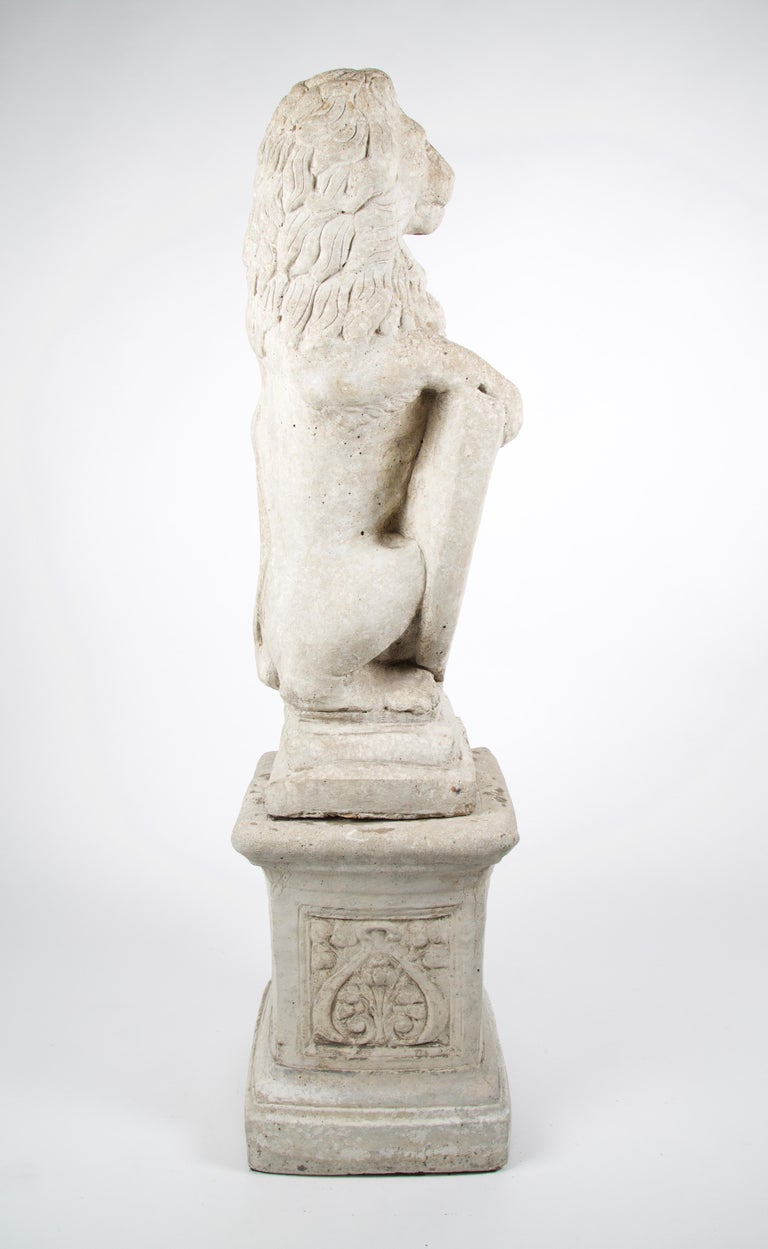 Renaissance 20th Century French Stone Lion with Shield on Pedestal For Sale