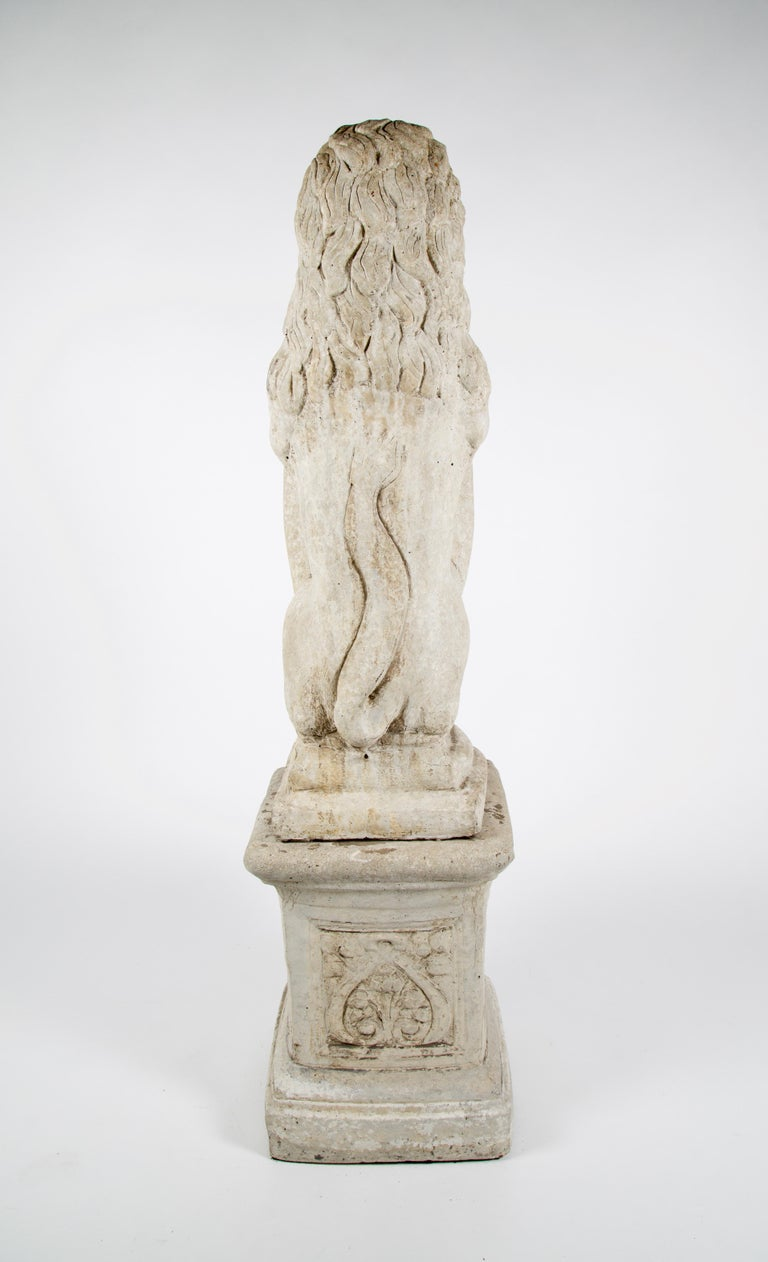 Hand-Carved 20th Century French Stone Lion with Shield on Pedestal For Sale