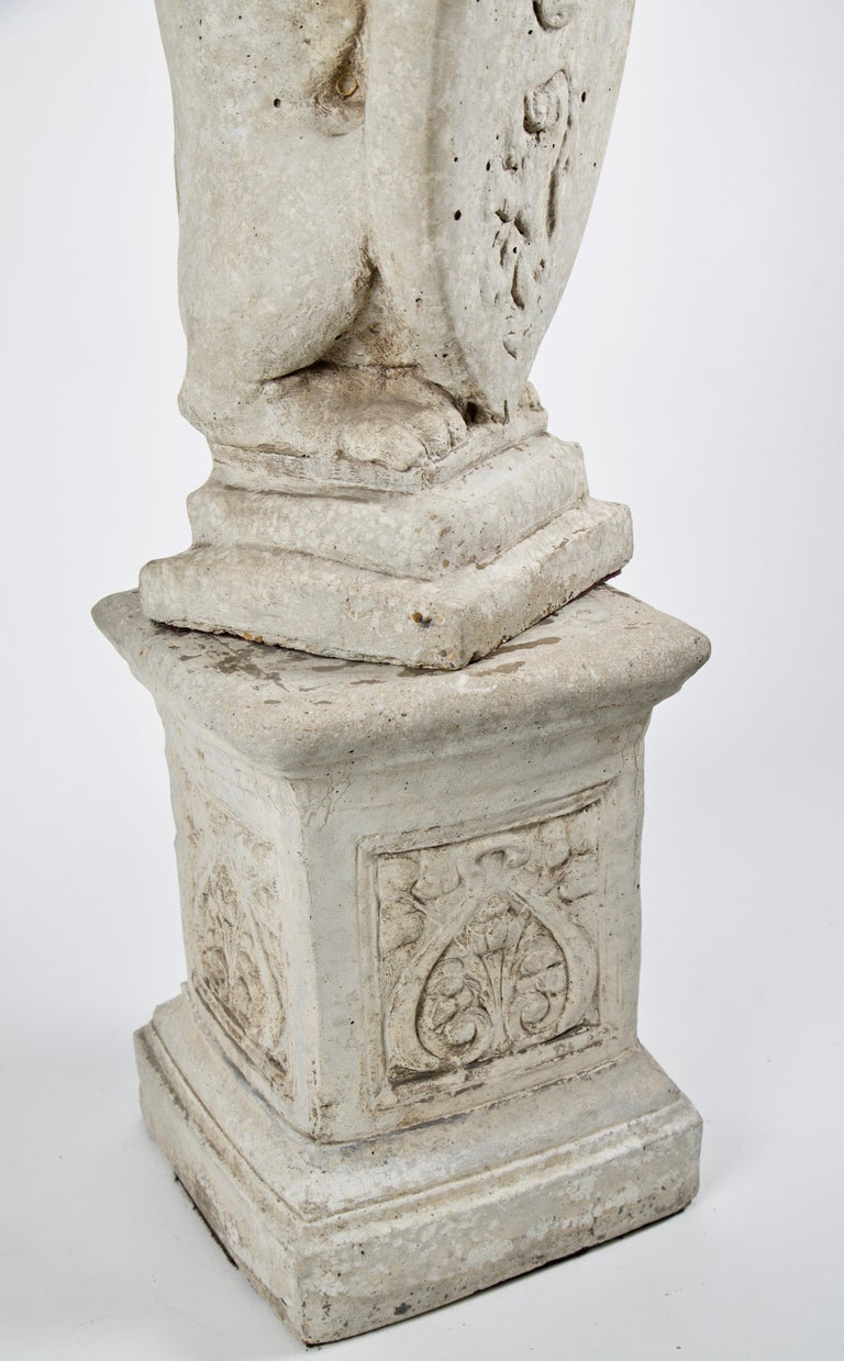 20th Century French Stone Lion with Shield on Pedestal For Sale 1