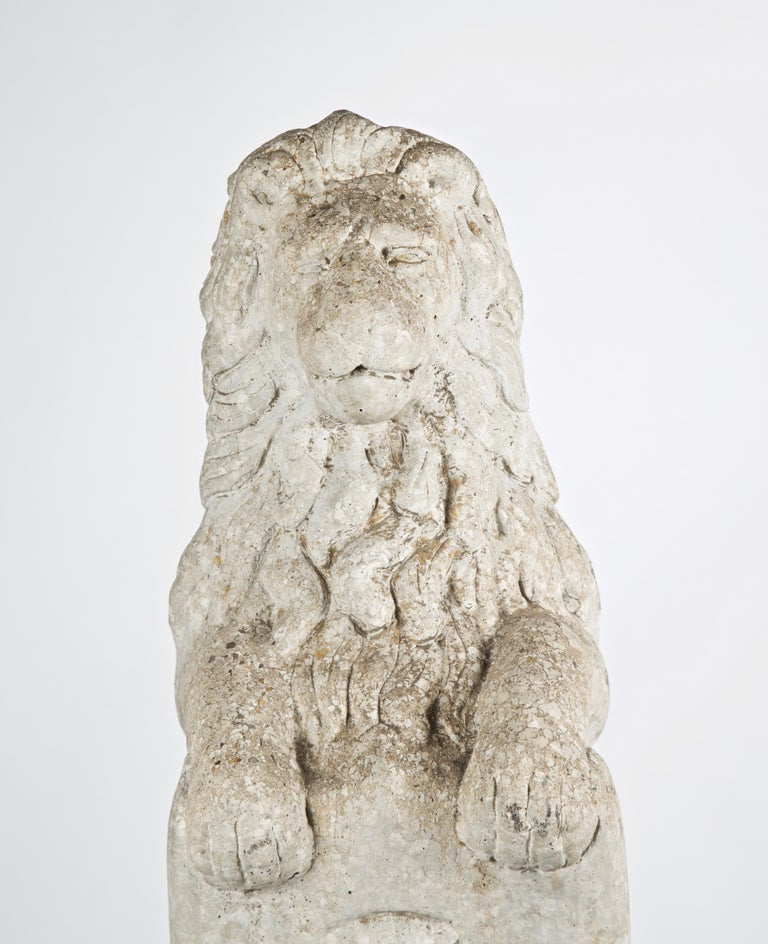 20th Century French Stone Lion with Shield on Pedestal For Sale 2