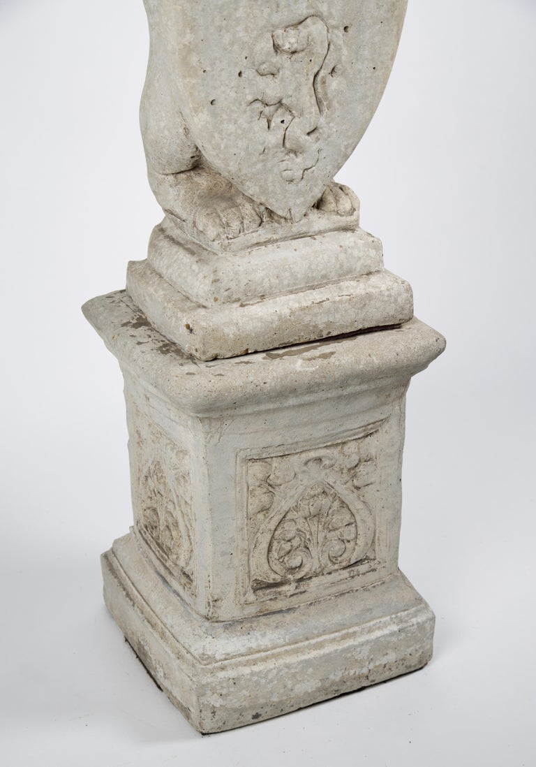 20th Century French Stone Lion with Shield on Pedestal For Sale 3