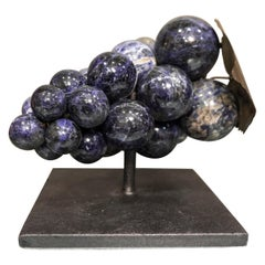 20th Century French Stone Semiprecious Lapislazuli and Brass Sculpture of Grapes