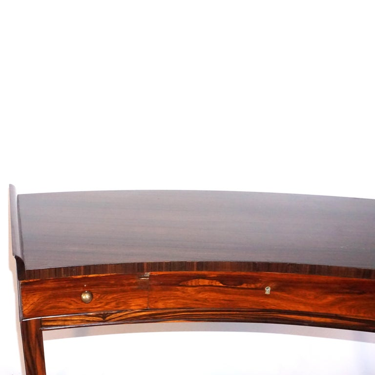 Hand-Carved 20th Century French Rosewood Three-Drawer Writing Desk For Sale