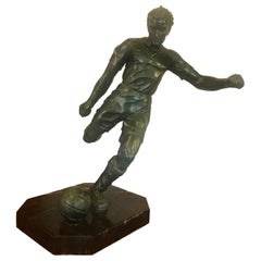20th Century French Tin and Lead Football Soccer Sculpture