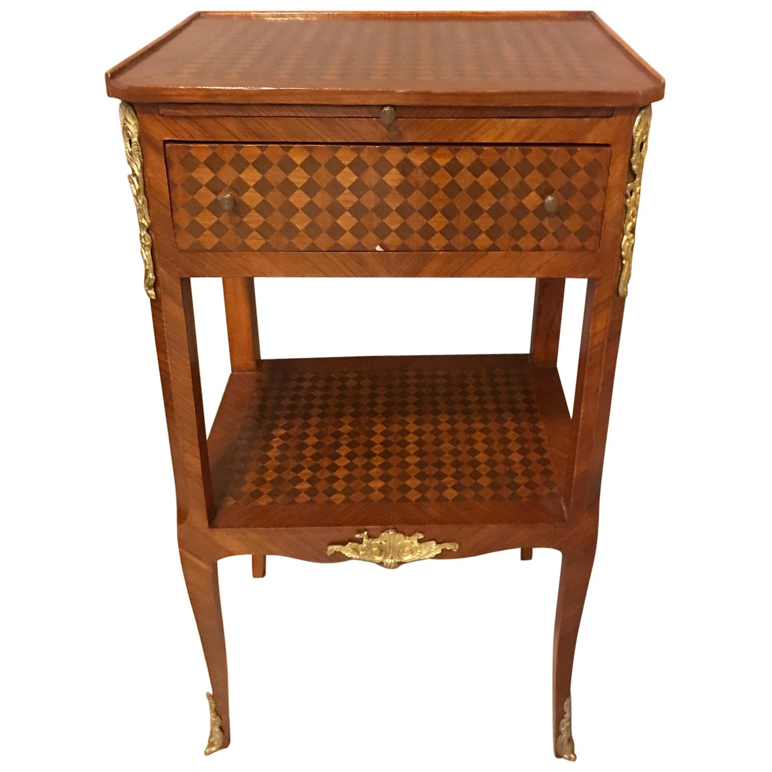 20th Century French Transition Style Mahogany Marquetry Bedside Table, 1920s