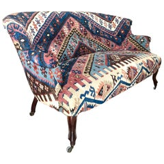 20th Century French Two-Seated Canapé Upholstered with an Antique Wool Carpet