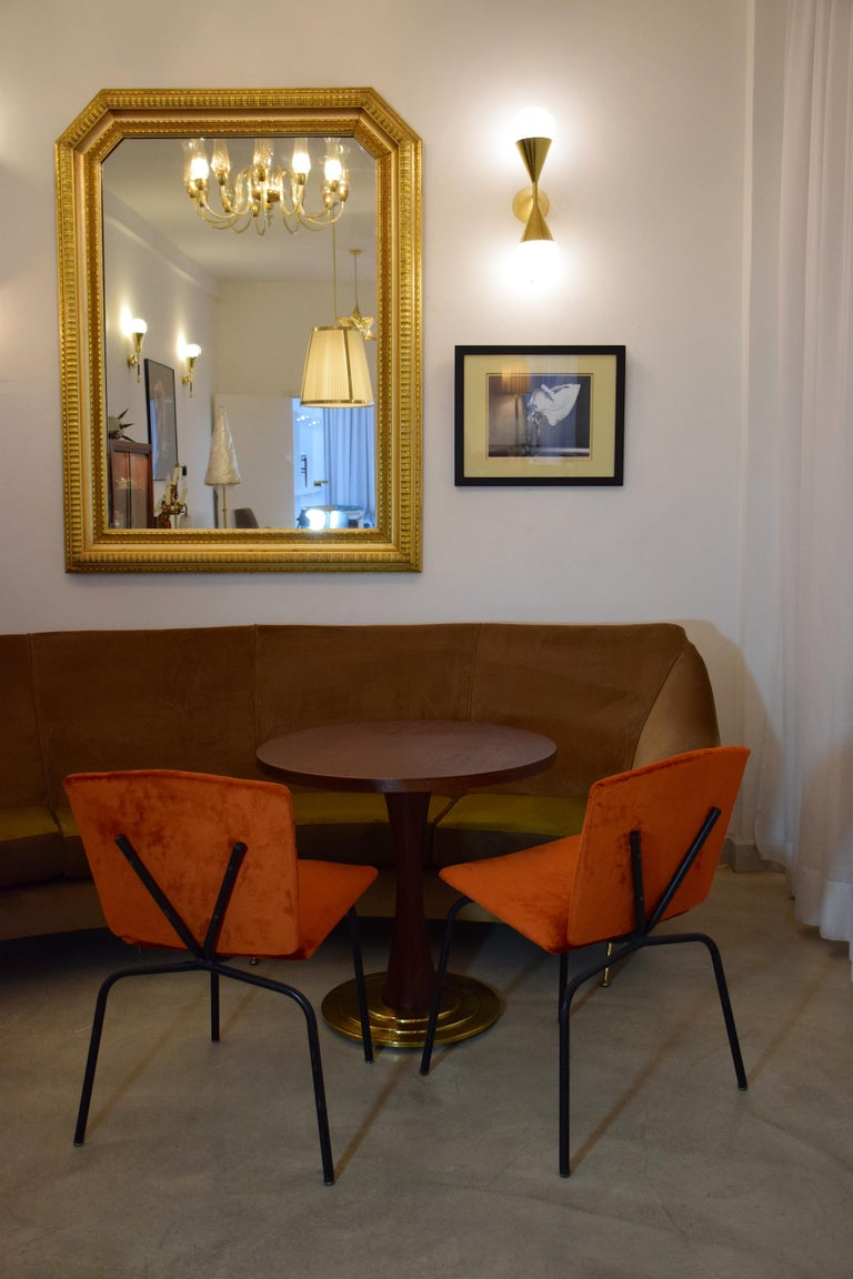 Mid-Century Modern 20th Century French Steel Velvet Chairs, 1970s For Sale