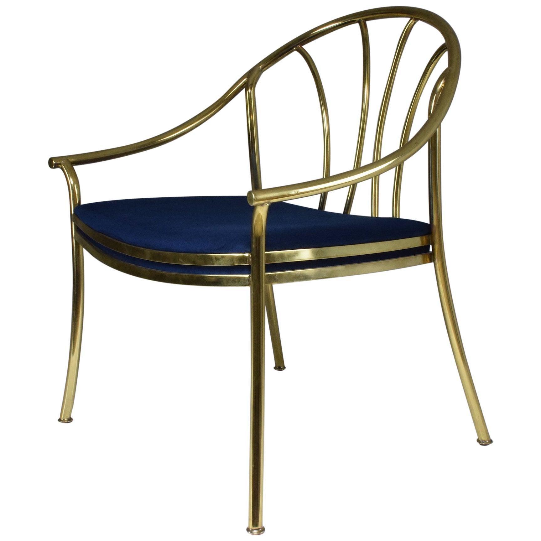 20th Century Italian Vintage Brass Armchair, 1970-1980