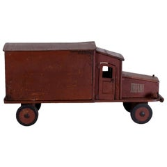 20th Century French Vintage Dark Red Wooden Truck Model, Table Décor