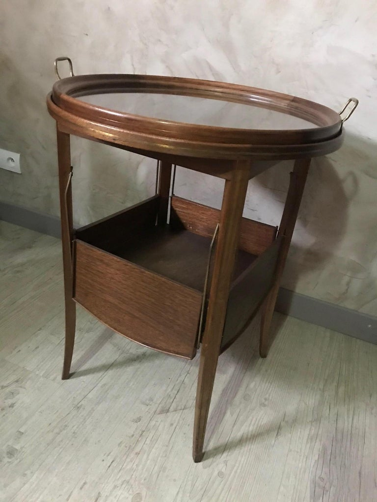 20th Century French Walnut and Glass Tea Table, 1920s For Sale 5