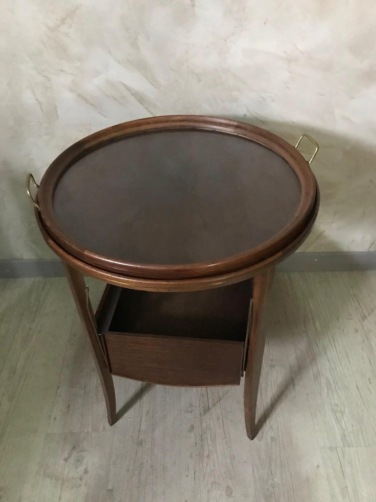 20th Century French Walnut and Glass Tea Table, 1920s For Sale 7