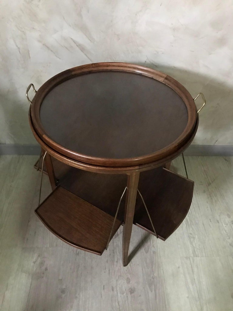 Brass 20th Century French Walnut and Glass Tea Table, 1920s For Sale