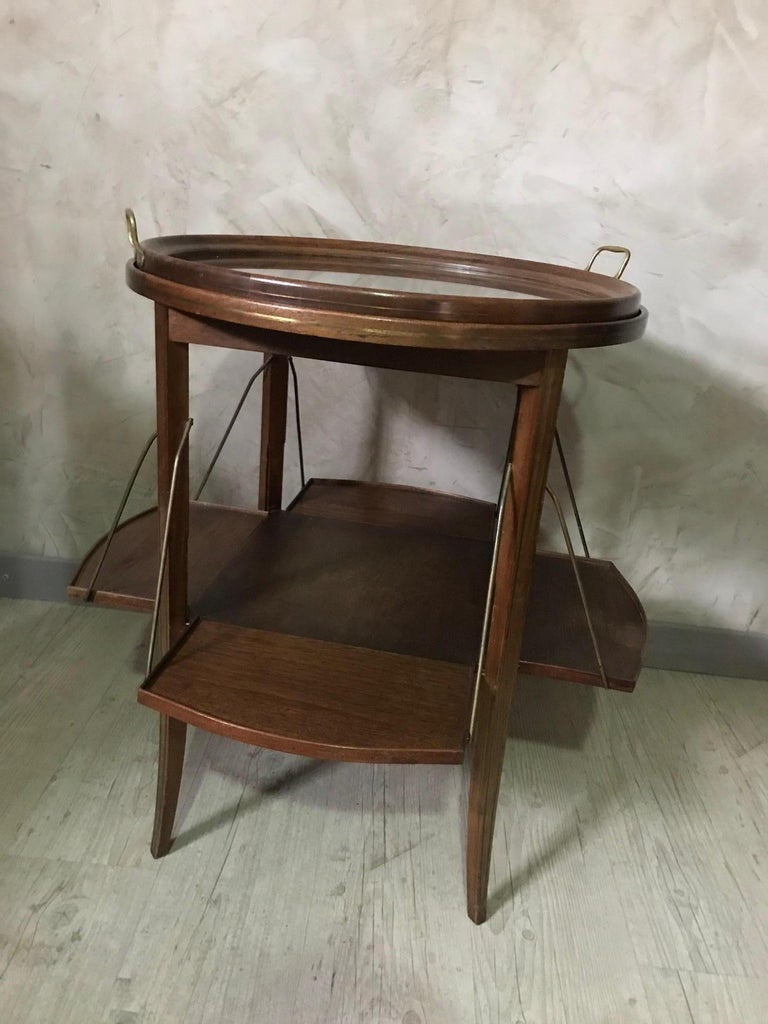 20th Century French Walnut and Glass Tea Table, 1920s For Sale 1