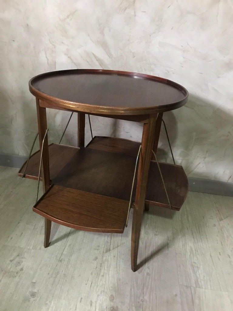 20th Century French Walnut and Glass Tea Table, 1920s For Sale 3