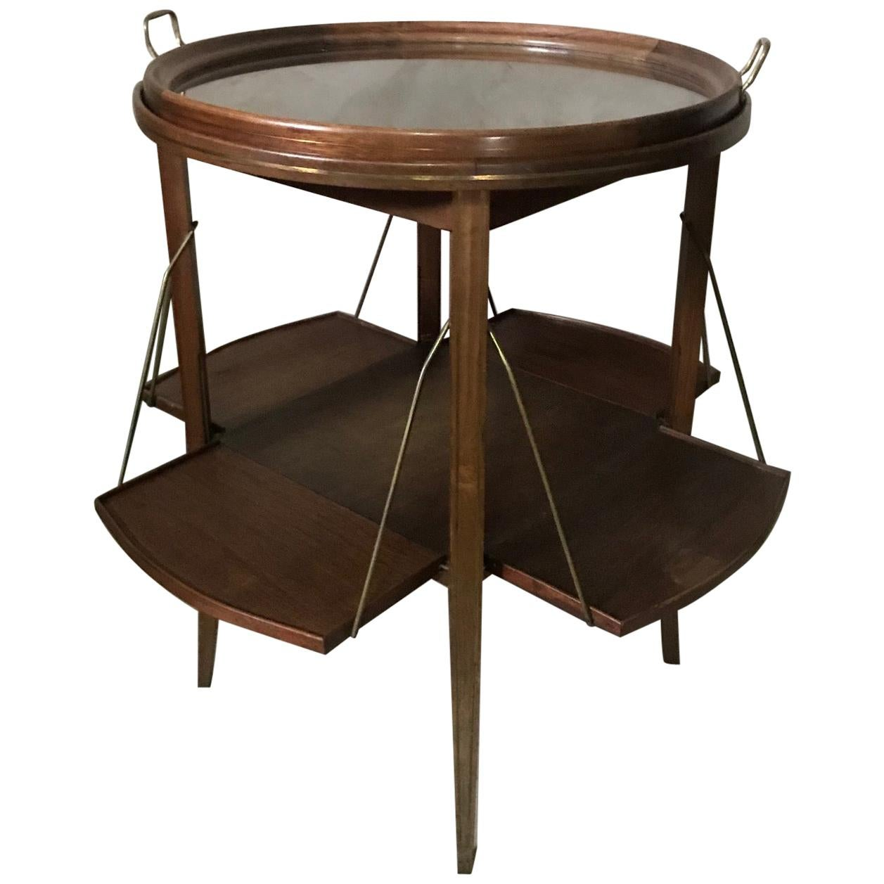 20th Century French Walnut and Glass Tea Table, 1920s