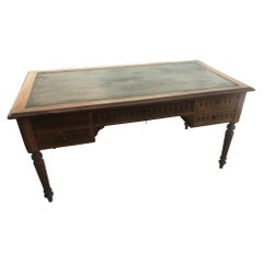 20th Century French Walnut and Leather Top Desk, 1900s