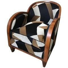 20th Century French Walnut Art Deco Reupholstered Armchair, 1930s