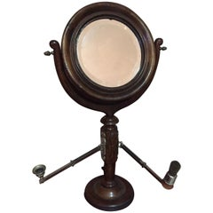 20th Century French Walnut Barber Mirror with Badger and Candle, 1900s