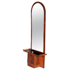 20th Century French Walnut Brown Art Deco Dressing Mirror, Black glass, 1920s