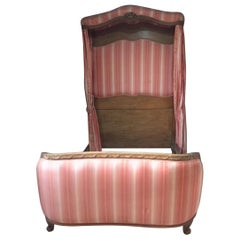 20th Century French Walnut Louis XVI Style Four-Poster Bed