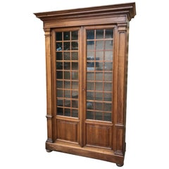20th Century French Walnut Restauration Style Bookcases or Vitrine, 1900s
