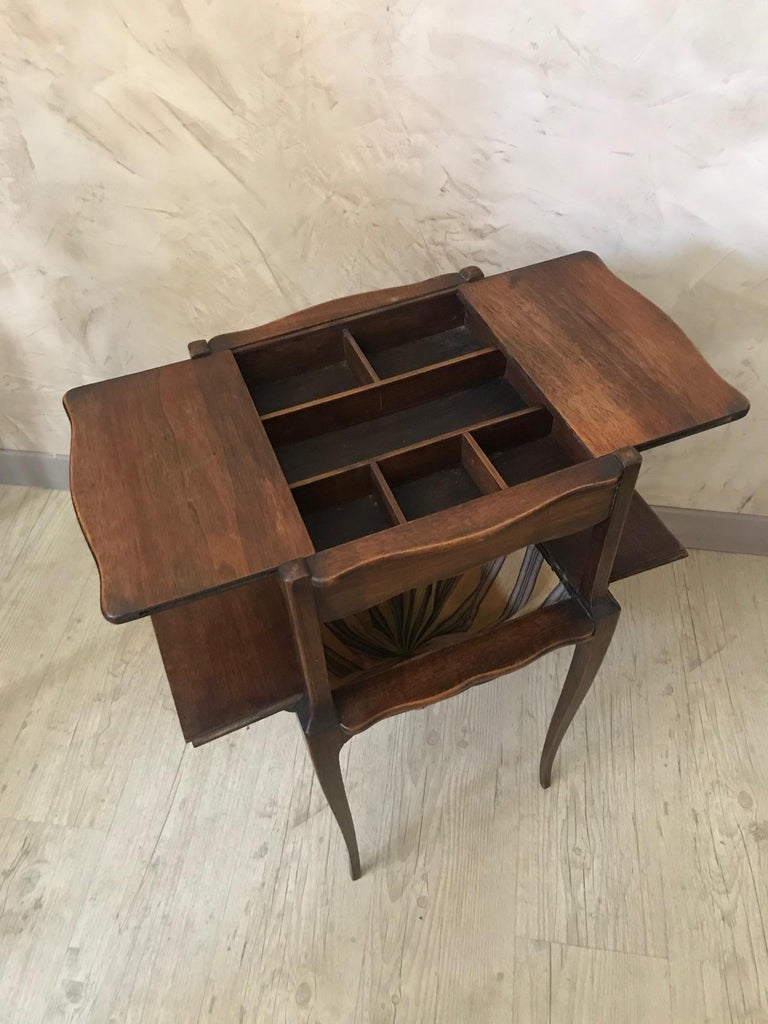 20th Century French Walnut Sewing Table, 1920s For Sale 1