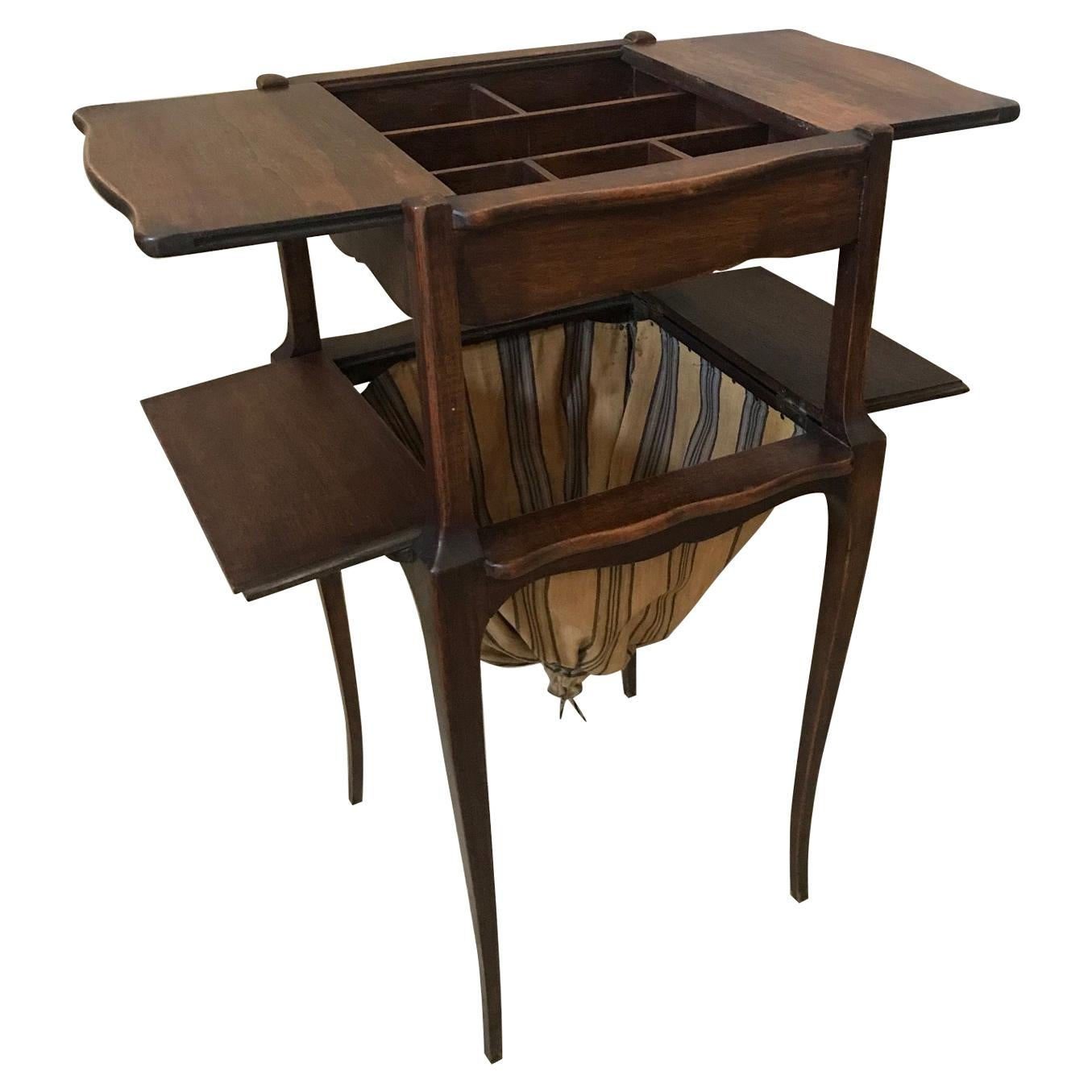 20th Century French Walnut Sewing Table, 1920s