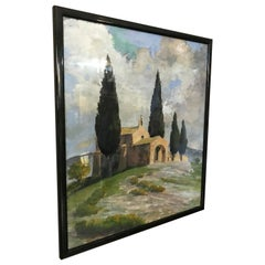 """20th century French Watercolor """"A chapel in Provence"""" 1958s"""