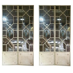 20th Century French White Iron-Mirror Fourfold Door