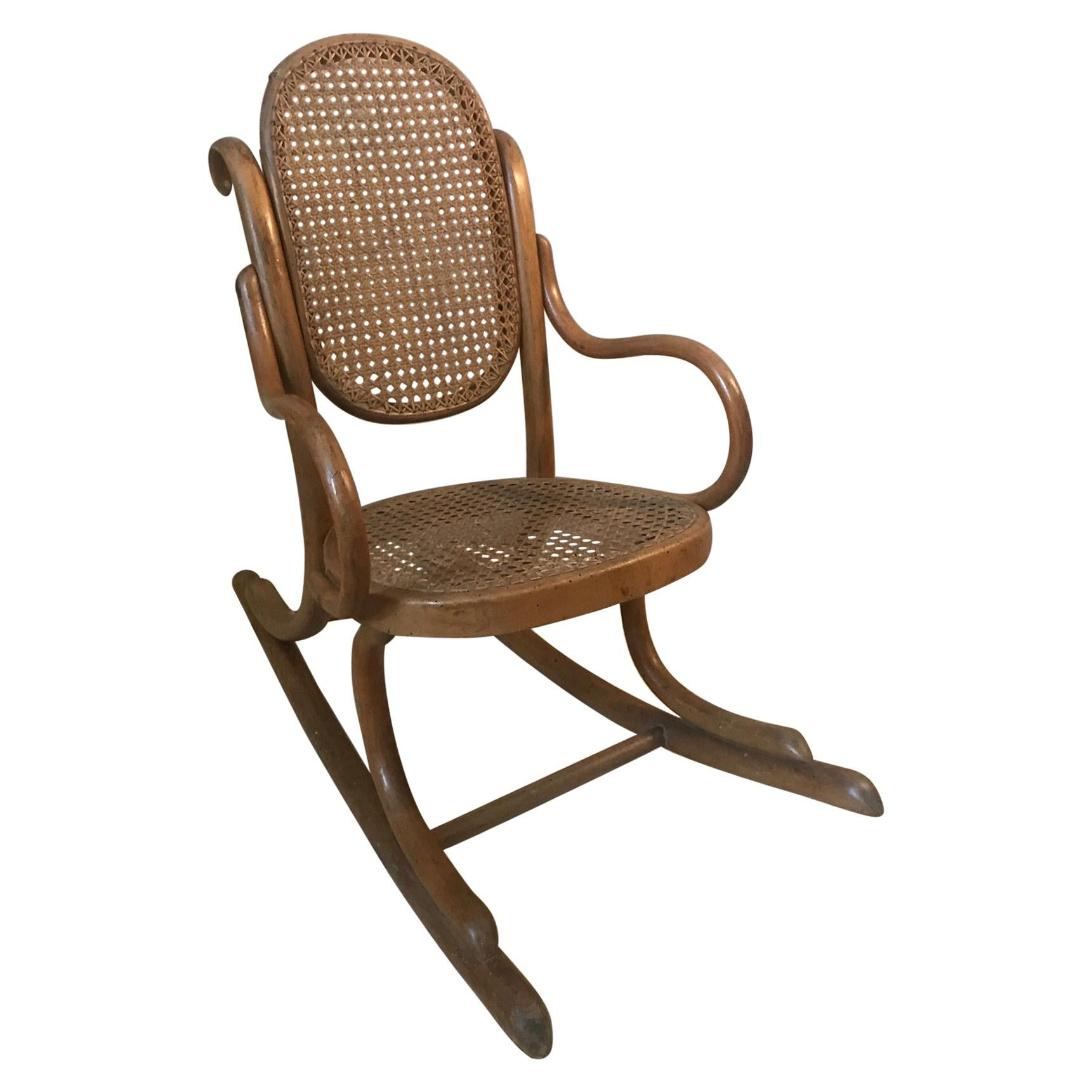 20th Century French Wood and Cane Child Rocking Chair, 1920s
