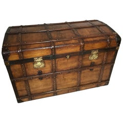 20th Century French Wood and Leather Trunk, 1900s