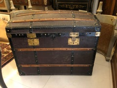 20th Century French Wooden Coffer or Trunk Covered with Black Leather