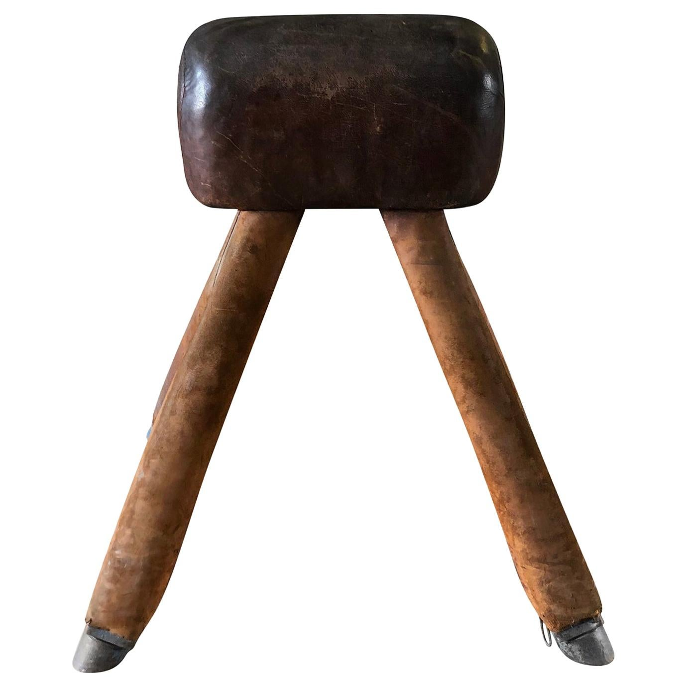 20th Century Dark-Brown French Wooden, Metal Pommel Horse