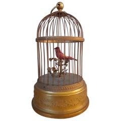 20th Century French Working Automaton Gilt Bronze Singing Birdcage, 1900s