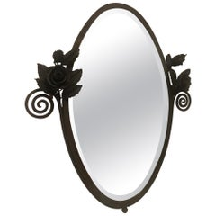 20th Century French Wrought Iron and Beveled Glass Mirror, 1925