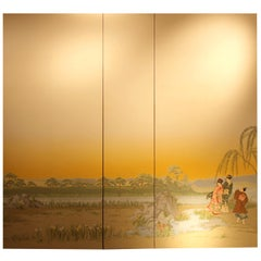 20th Century French Zuber Scenic Wallpaper Panels Depicting a Japanese Garden
