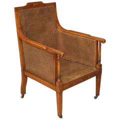 20th Century Fruitwood and Cane English Armchair Chair, 1930