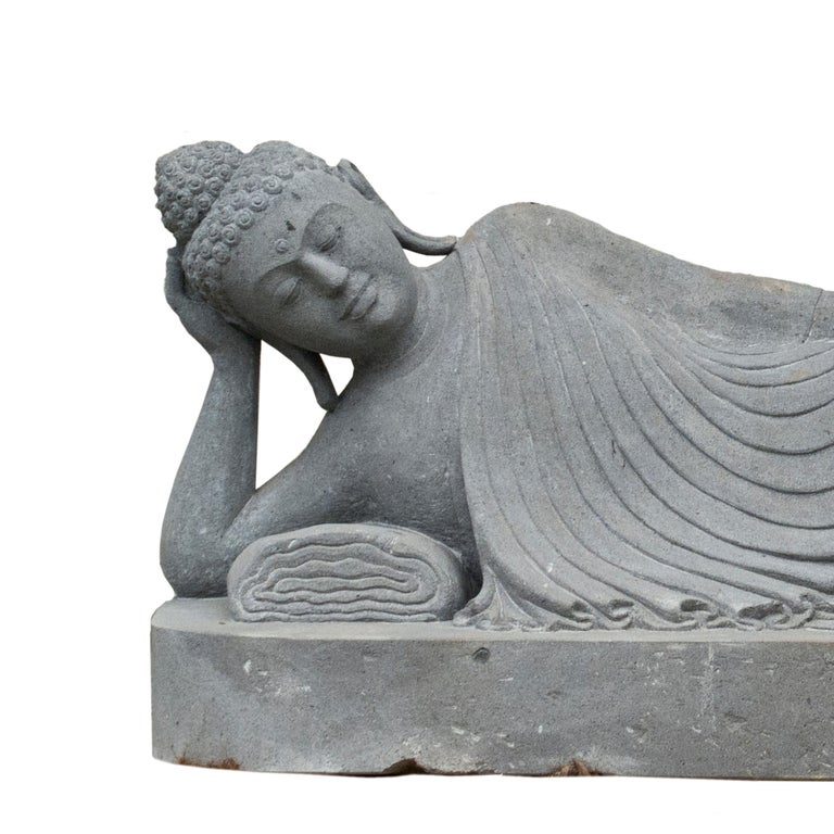Southeast Asian 20th Century Garden Statue of a Lava Stone Reclining Buddha